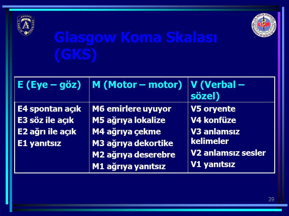 39 Glasgow Koma Skalası (GKS) V5 oryente V4 konfüze V3 anlamsız kelimeler V2 anlamsız sesler V1 yanıtsız M6 emirlere uyuyor M5 ağrıya lokalize M4 ağrı
