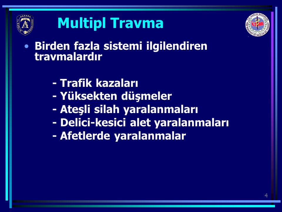 4 Multipl Travma Birden fazla sistemi ilgilendiren travmalardır - Trafik kazaları - Yüksekten düşmeler - Ateşli silah yaralanmaları - Delici-kesici al