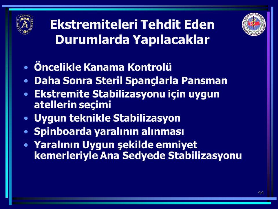 44 Ekstremiteleri Tehdit Eden Durumlarda Yapılacaklar Öncelikle Kanama Kontrolü Daha Sonra Steril Spançlarla Pansman Ekstremite Stabilizasyonu için uy