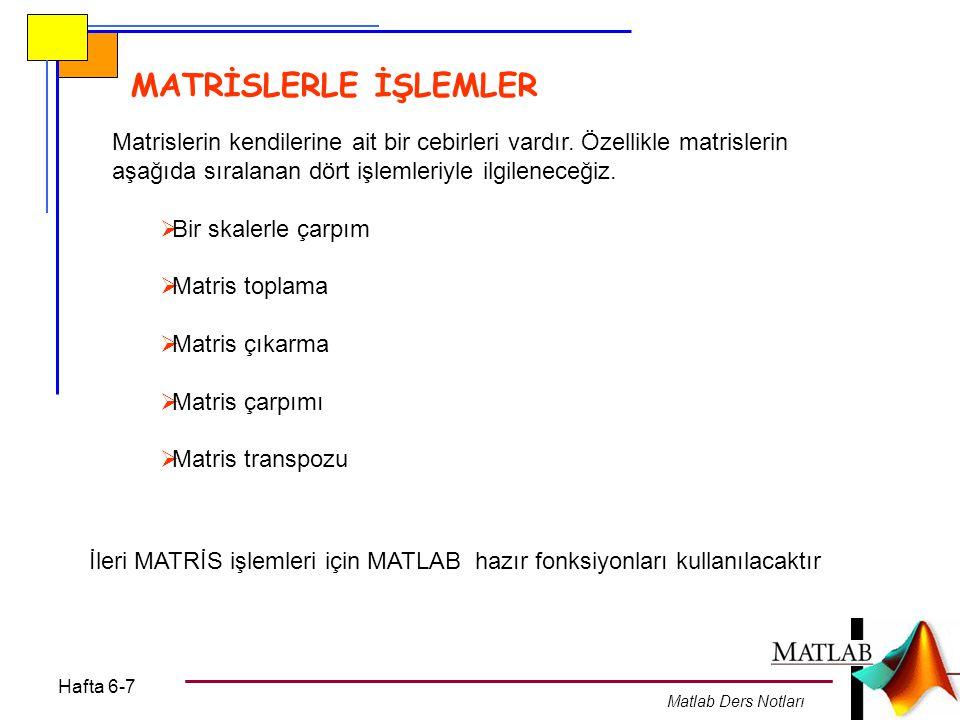 Hafta 6-7 Matlab Ders Notları MATRİSLERLE İŞLEMLER İleri MATRİS işlemleri için MATLAB hazır fonksiyonları kullanılacaktır Matrislerin kendilerine ait