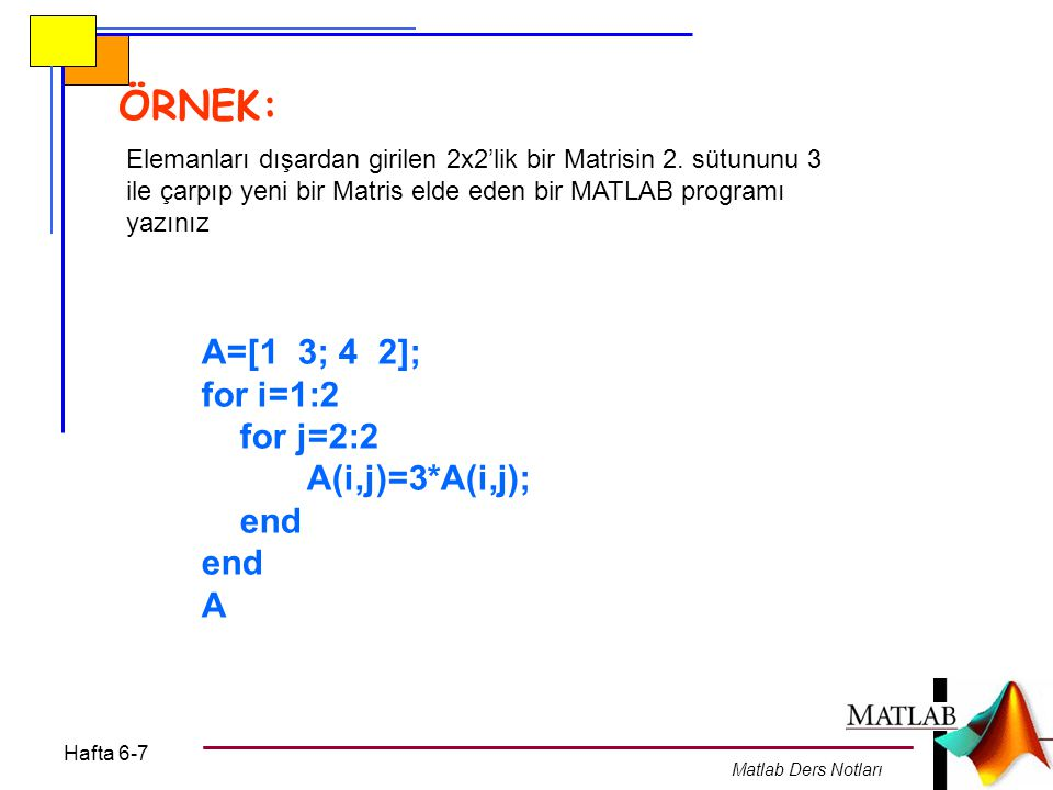 Hafta 6-7 Matlab Ders Notları ÖRNEK: Elemanları dışardan girilen 2x2'lik bir Matrisin 2. sütununu 3 ile çarpıp yeni bir Matris elde eden bir MATLAB pr