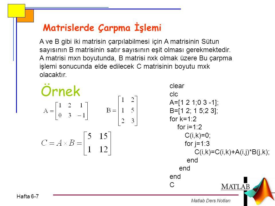 Hafta 6-7 Matlab Ders Notları Matrislerde Çarpma İşlemi A ve B gibi iki matrisin çarpılabilmesi için A matrisinin Sütun sayısının B matrisinin satır s