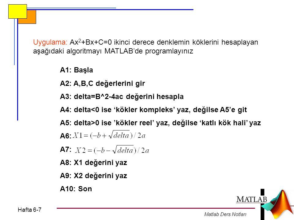 Hafta 6-7 Matlab Ders Notları Uygulama: Ax 2 +Bx+C=0 ikinci derece denklemin köklerini hesaplayan aşağıdaki algoritmayı MATLAB'de programlayınız A1: Başla A2: A,B,C değerlerini gir A3: delta=B^2-4ac değerini hesapla A4: delta<0 ise 'kökler kompleks' yaz, değilse A5'e git A5: delta>0 ise 'kökler reel' yaz, değilse 'katlı kök hali' yaz A6: A7: A8: X1 değerini yaz A9: X2 değerini yaz A10: Son