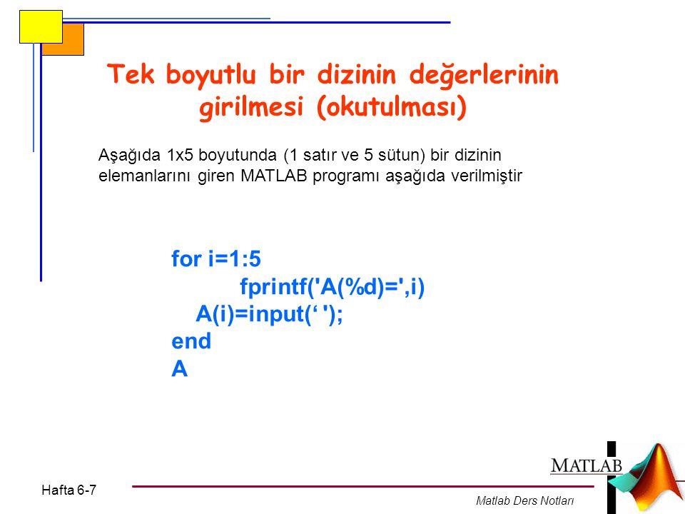 Hafta 6-7 Matlab Ders Notları Örnek: N elemanlı bir dizinin N değeri ve elemanları okutulacak (dışardan girilecek) ve bu vektörün normunun karesi (elemanlarının karelerinin toplamı) bulunacaktır N=input( N deðerini giriniz= ); toplam=0; for i=1:N fprintf( A(%d)= ,i); A(i)=input( ); end for i=1:N toplam=toplam+A(i)*A(i); end fprintf( A matrisinin normunun karesi=%f , toplam)