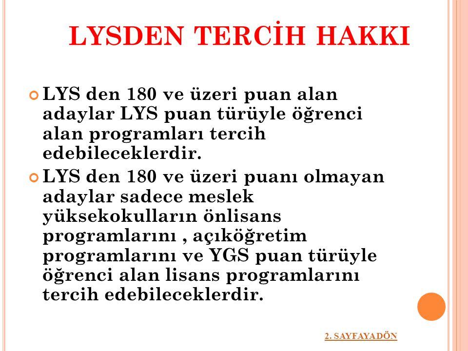 LYSDEN TERCİH HAKKI LYS den 180 ve üzeri puan alan adaylar LYS puan türüyle öğrenci alan programları tercih edebileceklerdir. LYS den 180 ve üzeri pua