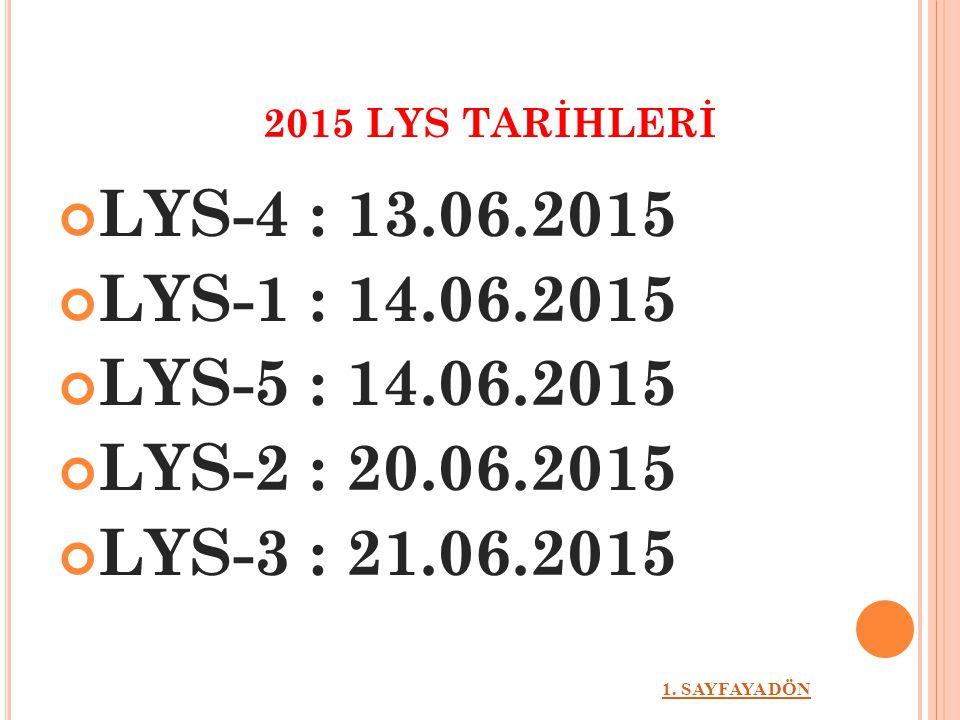 2015 LYS TARİHLERİ LYS-4 : 13.06.2015 LYS-1 : 14.06.2015 LYS-5 : 14.06.2015 LYS-2 : 20.06.2015 LYS-3 : 21.06.2015 1. SAYFAYA DÖN
