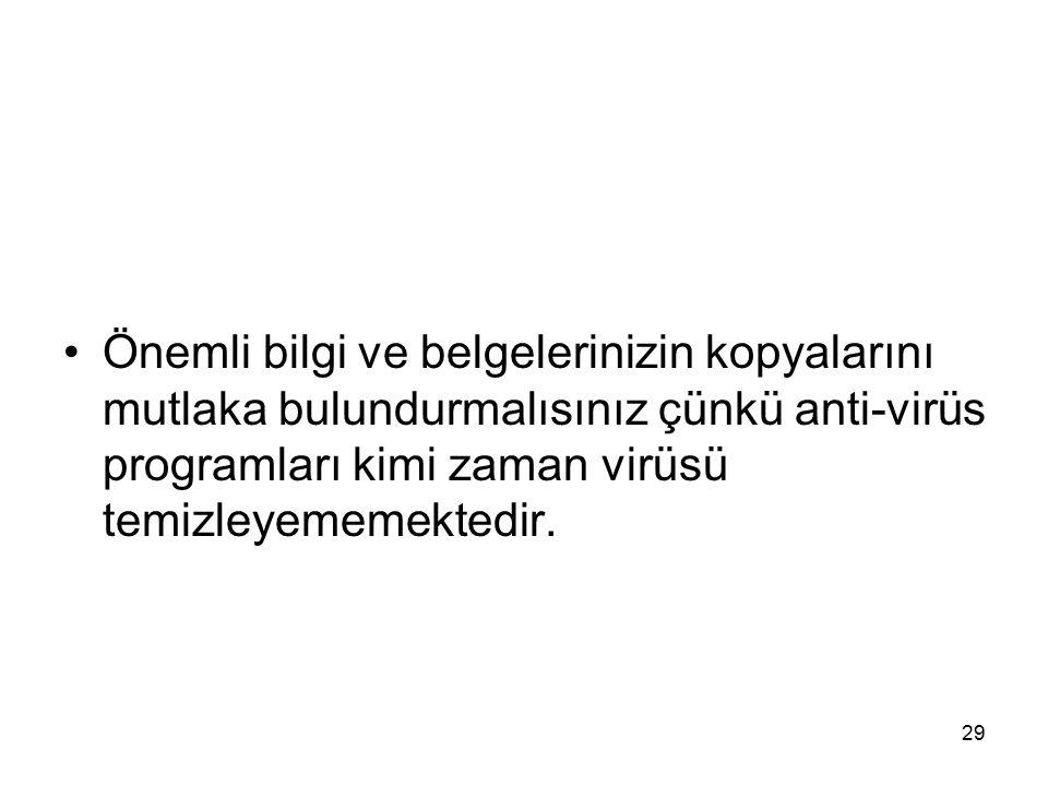 Önemli bilgi ve belgelerinizin kopyalarını mutlaka bulundurmalısınız çünkü anti-virüs programları kimi zaman virüsü temizleyememektedir. 29