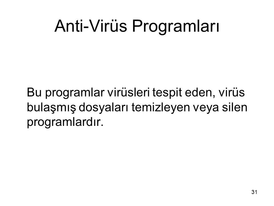 Anti-Virüs Programları Bu programlar virüsleri tespit eden, virüs bulaşmış dosyaları temizleyen veya silen programlardır. 31