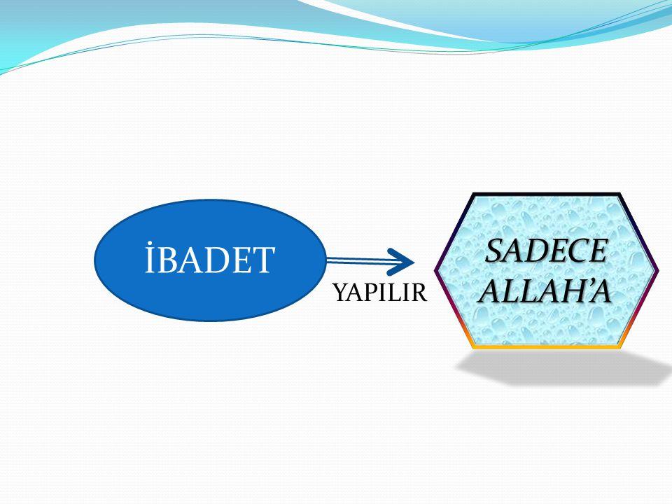 İBADET YAPILIR SADECEALLAH'A