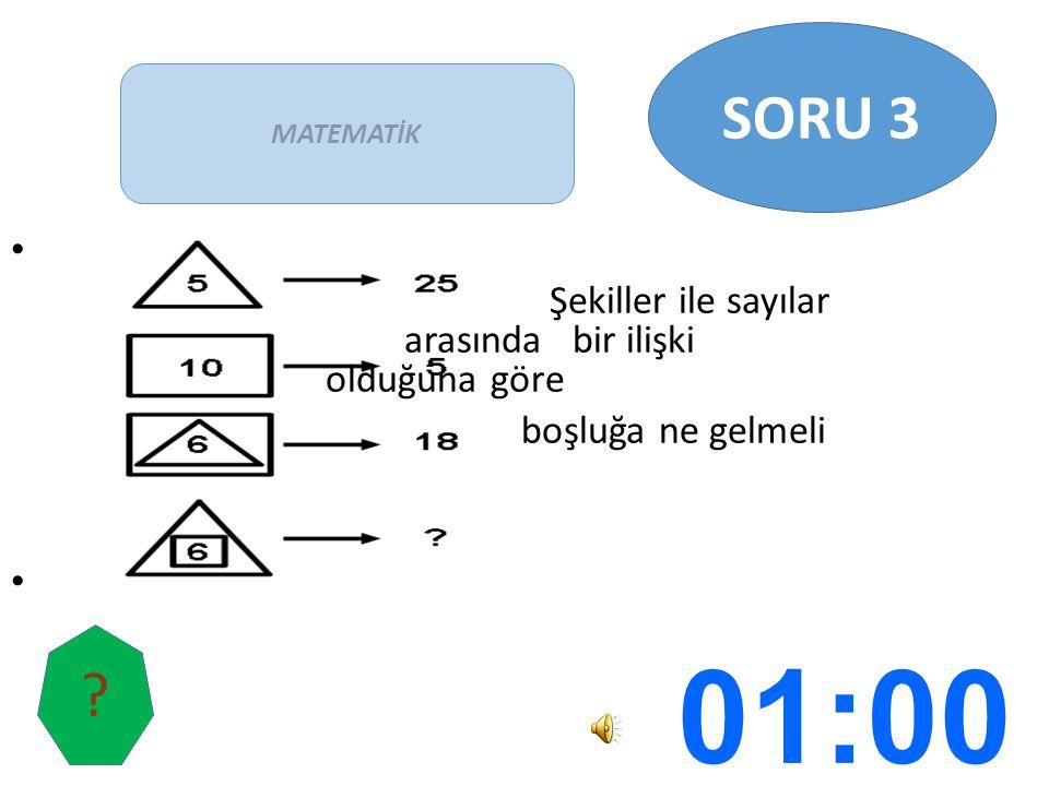 Şekiller ile sayılar arasında bir ilişki olduğuna göre boşluğa ne gelmeli MATEMATİK SORU 3 ?