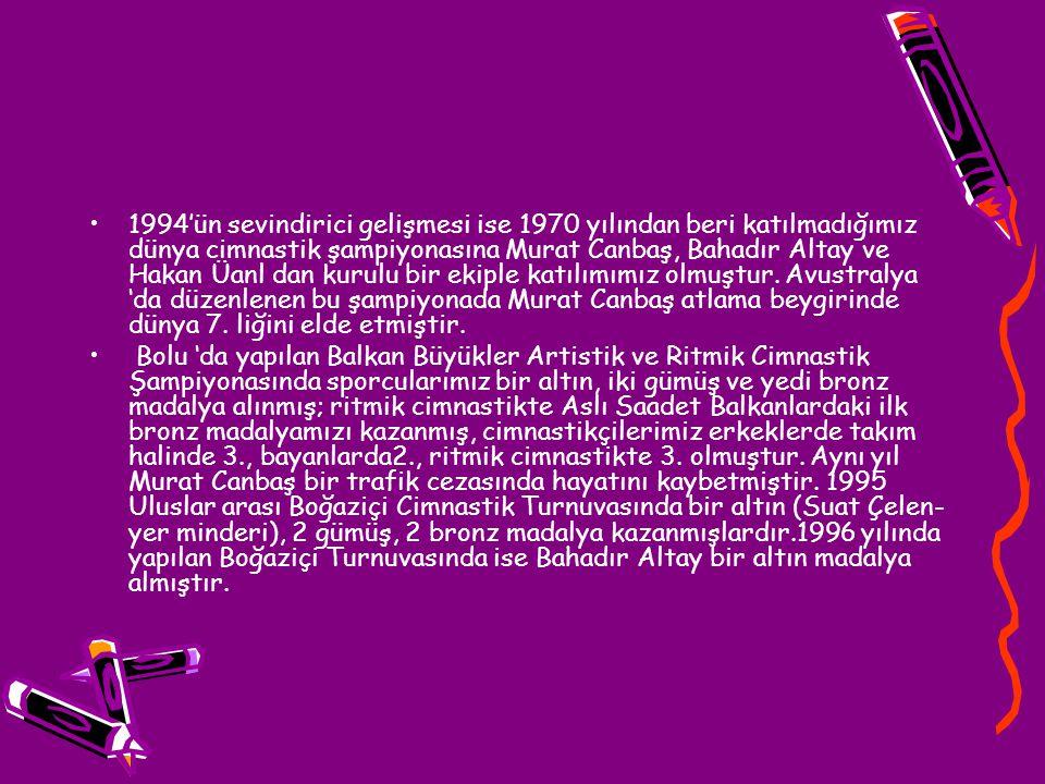 1994'ün sevindirici gelişmesi ise 1970 yılından beri katılmadığımız dünya cimnastik şampiyonasına Murat Canbaş, Bahadır Altay ve Hakan Üanl dan kurulu