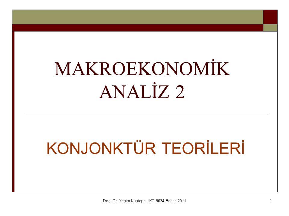 Doç. Dr. Yeşim Kuştepeli İKT 5034-Bahar 20111 MAKROEKONOMİK ANALİZ 2 KONJONKTÜR TEORİLERİ