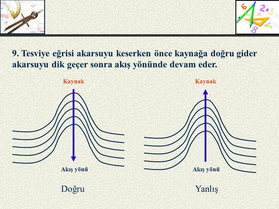 9. Tesviye eğrisi akarsuyu keserken önce kaynağa doğru gider akarsuyu dik geçer sonra akış yönünde devam eder. DoğruYanlış Akış yönü Kaynak