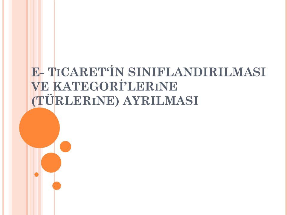 E- T I CARET'İN SINIFLANDIRILMASI VE KATEGORİ'LER I NE (TÜRLER I NE) AYRILMASI
