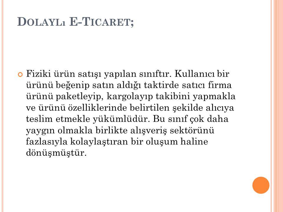 D OLAYLı E-T ICARET ; Fiziki ürün satışı yapılan sınıftır.