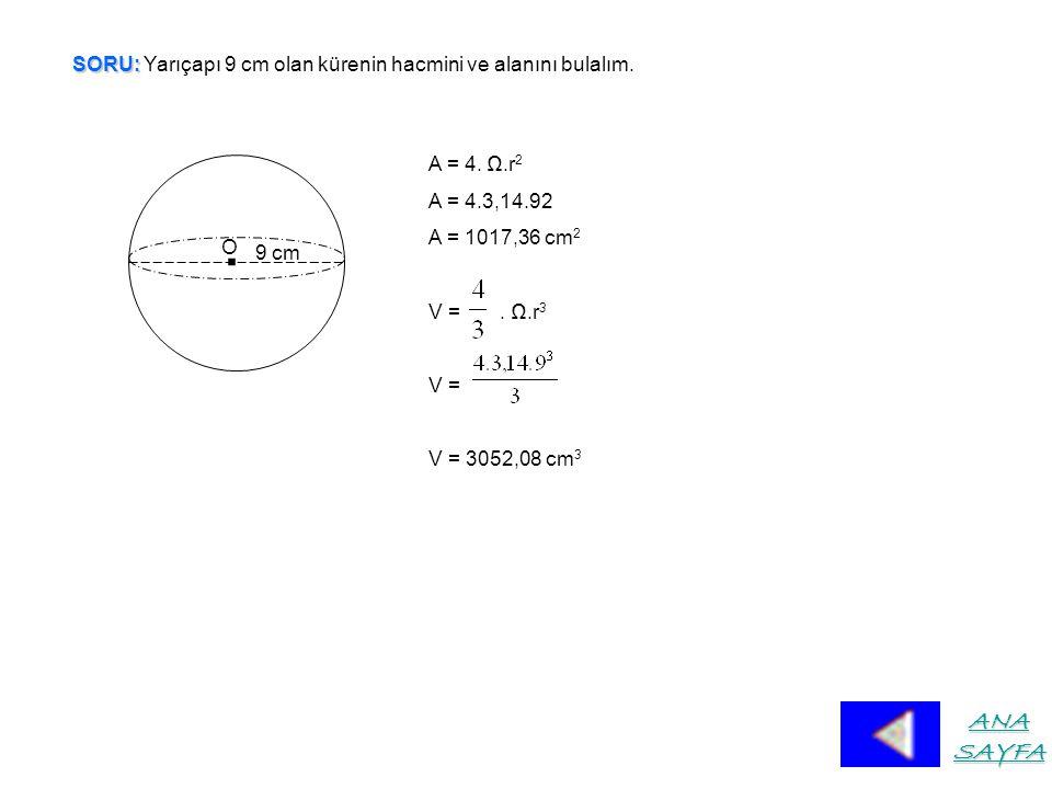 SORU: SORU: Yarıçapı 9 cm olan kürenin hacmini ve alanını bulalım..