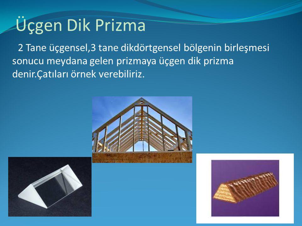 Üçgen Dik Prizma 2 Tane üçgensel,3 tane dikdörtgensel bölgenin birleşmesi sonucu meydana gelen prizmaya üçgen dik prizma denir.Çatıları örnek verebili