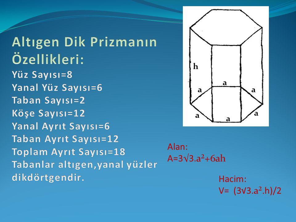 h a aa a a a Alan: A=3√3.a²+6ah Hacim: V= (3√3.a².h)/2