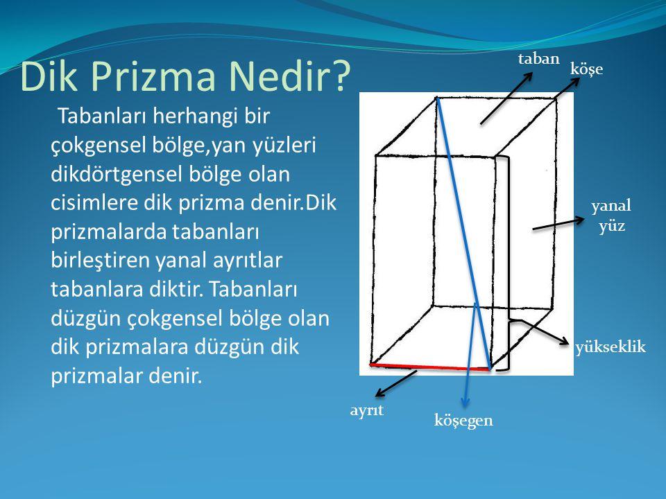 Dik Prizma Nedir? Tabanları herhangi bir çokgensel bölge,yan yüzleri dikdörtgensel bölge olan cisimlere dik prizma denir.Dik prizmalarda tabanları bir