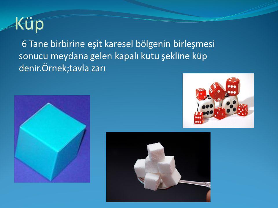 Küp 6 Tane birbirine eşit karesel bölgenin birleşmesi sonucu meydana gelen kapalı kutu şekline küp denir.Örnek;tavla zarı