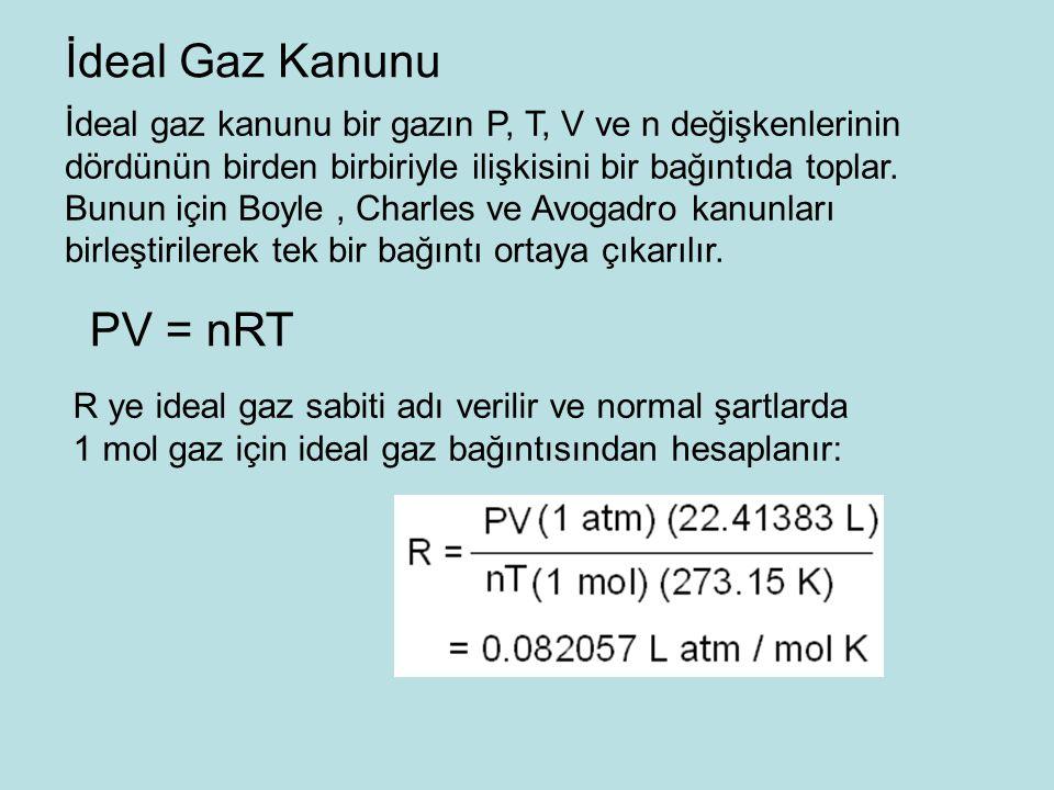 İdeal gaz kanunu bir gazın P, T, V ve n değişkenlerinin dördünün birden birbiriyle ilişkisini bir bağıntıda toplar.
