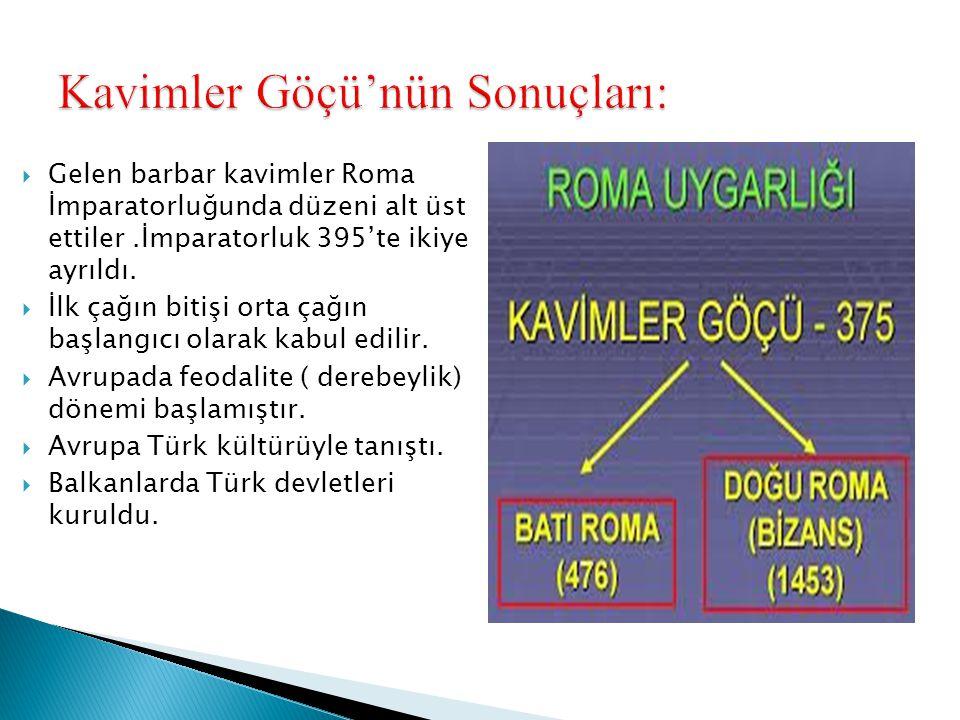  Gelen barbar kavimler Roma İmparatorluğunda düzeni alt üst ettiler.İmparatorluk 395'te ikiye ayrıldı.  İlk çağın bitişi orta çağın başlangıcı olara