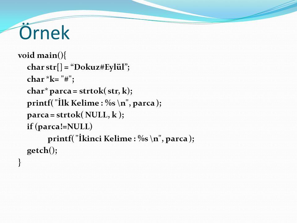 Örnek Kullanıcının girdiği metinde kaç kelime olduğunu sayan ve kelimeleri altalta ekrana yazan programı yazınız (Kelime ayıran karakterler: boşluk, virgül, noktalı virgül, nokta)