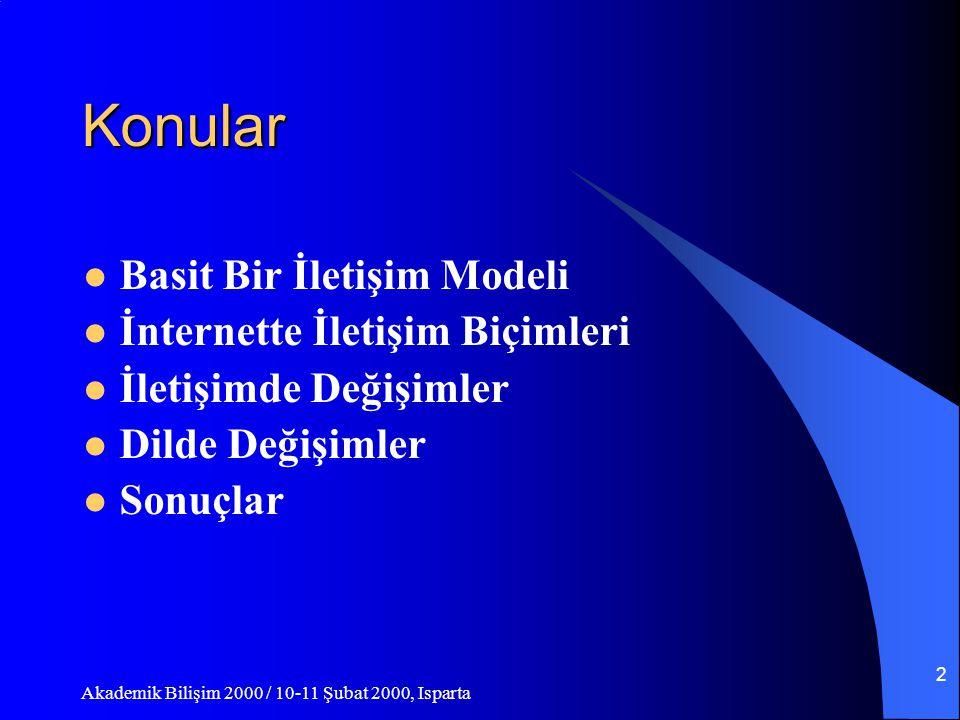 Akademik Bilişim 2000 / 10-11 Şubat 2000, Isparta 2 Konular Basit Bir İletişim Modeli İnternette İletişim Biçimleri İletişimde Değişimler Dilde Değişimler Sonuçlar
