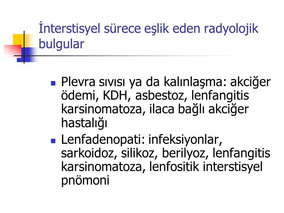 İnterstisyel sürece eşlik eden radyolojik bulgular Plevra sıvısı ya da kalınlaşma: akciğer ödemi, KDH, asbestoz, lenfangitis karsinomatoza, ilaca bağl