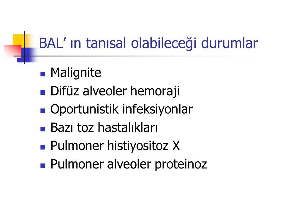 BAL' ın tanısal olabileceği durumlar Malignite Difüz alveoler hemoraji Oportunistik infeksiyonlar Bazı toz hastalıkları Pulmoner histiyositoz X Pulmon