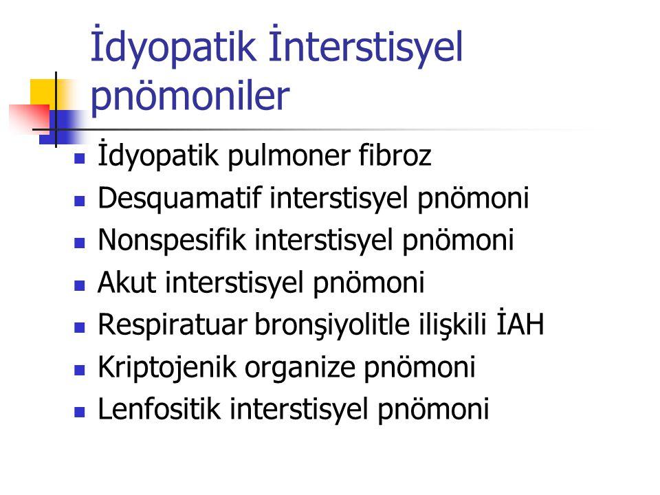 İdyopatik İnterstisyel pnömoniler İdyopatik pulmoner fibroz Desquamatif interstisyel pnömoni Nonspesifik interstisyel pnömoni Akut interstisyel pnömon