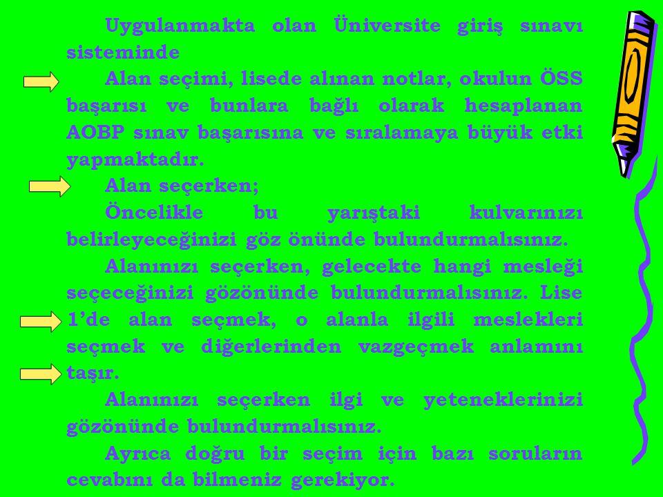 Uygulanmakta olan Üniversite giriş sınavı sisteminde Alan seçimi, lisede alınan notlar, okulun ÖSS başarısı ve bunlara bağlı olarak hesaplanan AOBP sı