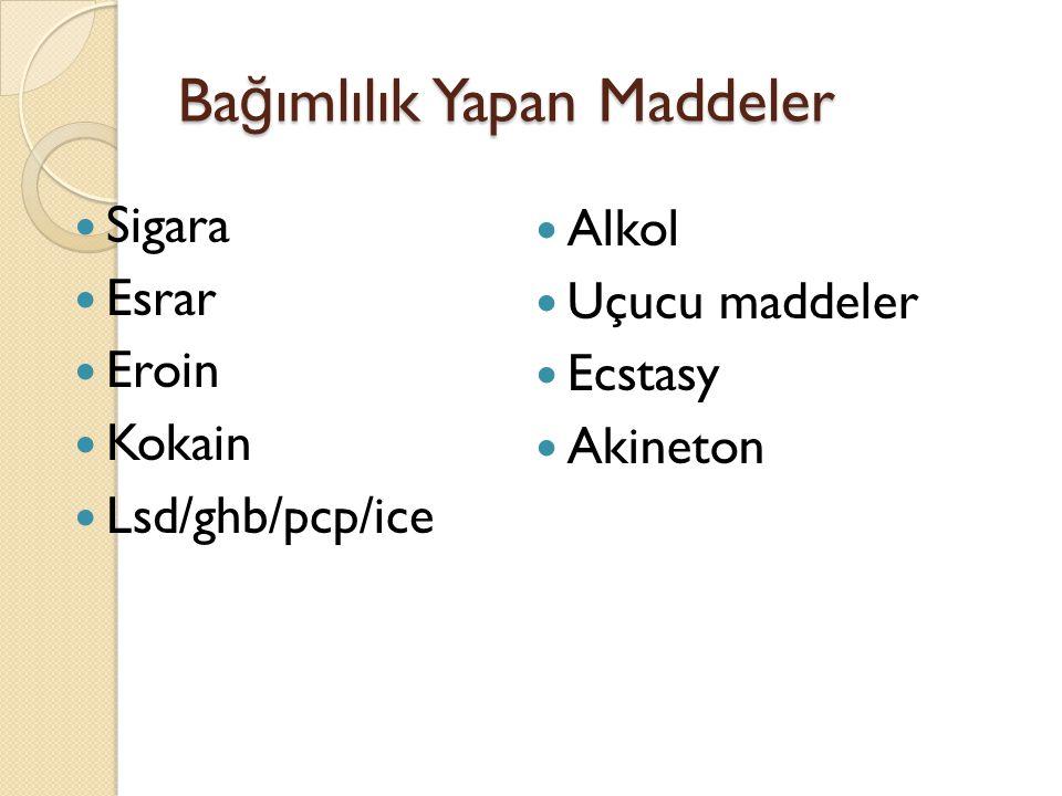 Ba ğ ımlılık Yapan Maddeler Sigara Esrar Eroin Kokain Lsd/ghb/pcp/ice Alkol Uçucu maddeler Ecstasy Akineton