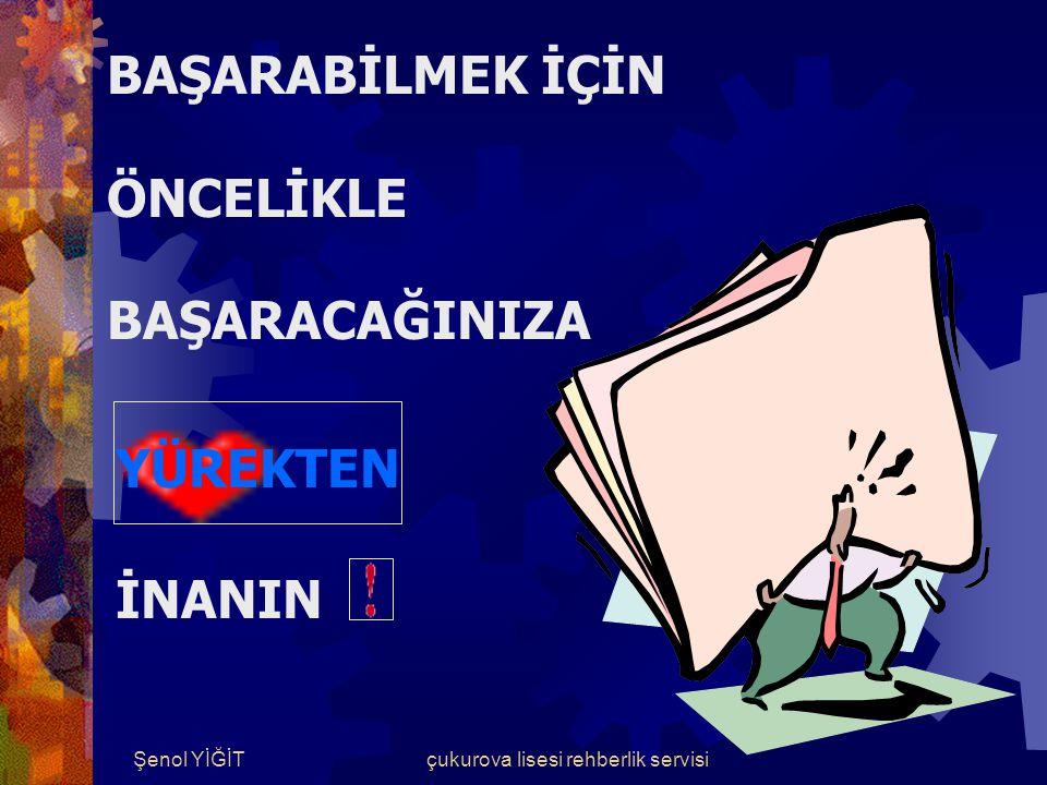 Şenol YİĞİTçukurova lisesi rehberlik servisi BAŞARI ŞANS DEĞİLDİR.