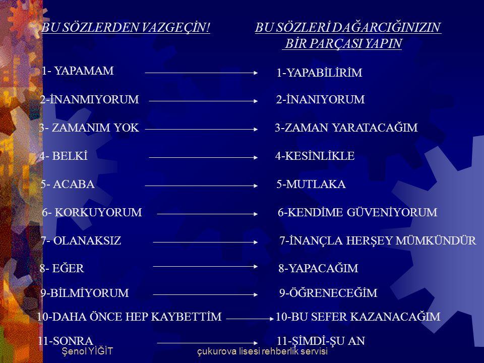 Şenol YİĞİTçukurova lisesi rehberlik servisi DEĞİŞMEYE İSTEKLİ OLUN .