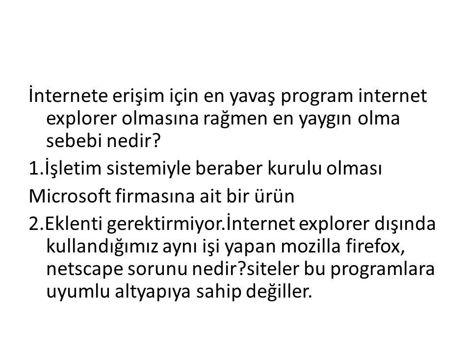 İnternete erişim için en yavaş program internet explorer olmasına rağmen en yaygın olma sebebi nedir.