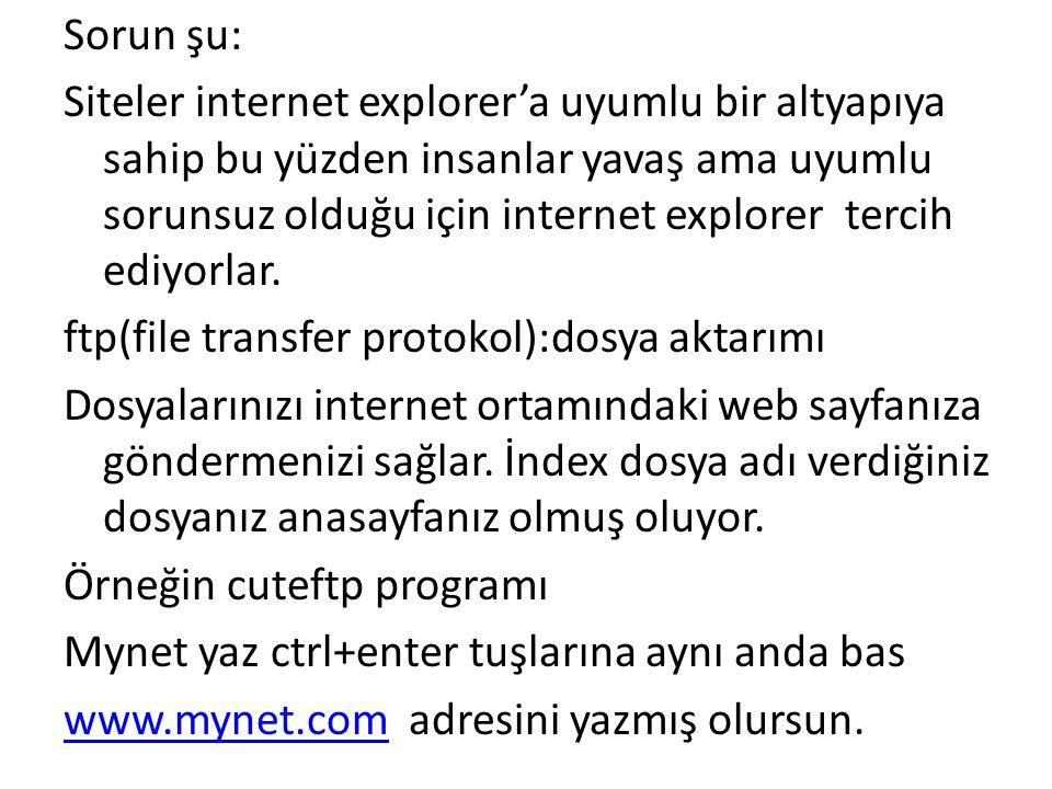Sorun şu: Siteler internet explorer'a uyumlu bir altyapıya sahip bu yüzden insanlar yavaş ama uyumlu sorunsuz olduğu için internet explorer tercih ediyorlar.