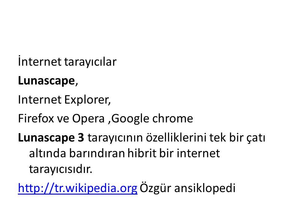 İnternet tarayıcılar Lunascape, Internet Explorer, Firefox ve Opera,Google chrome Lunascape 3 tarayıcının özelliklerini tek bir çatı altında barındıran hibrit bir internet tarayıcısıdır.