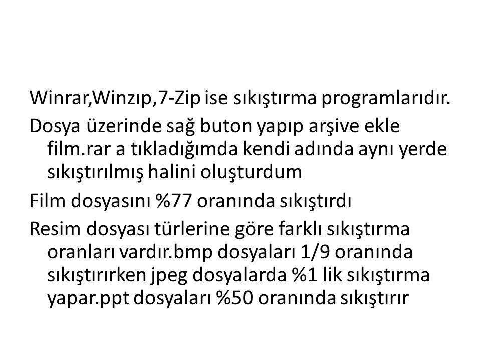 Winrar,Winzıp,7-Zip ise sıkıştırma programlarıdır.