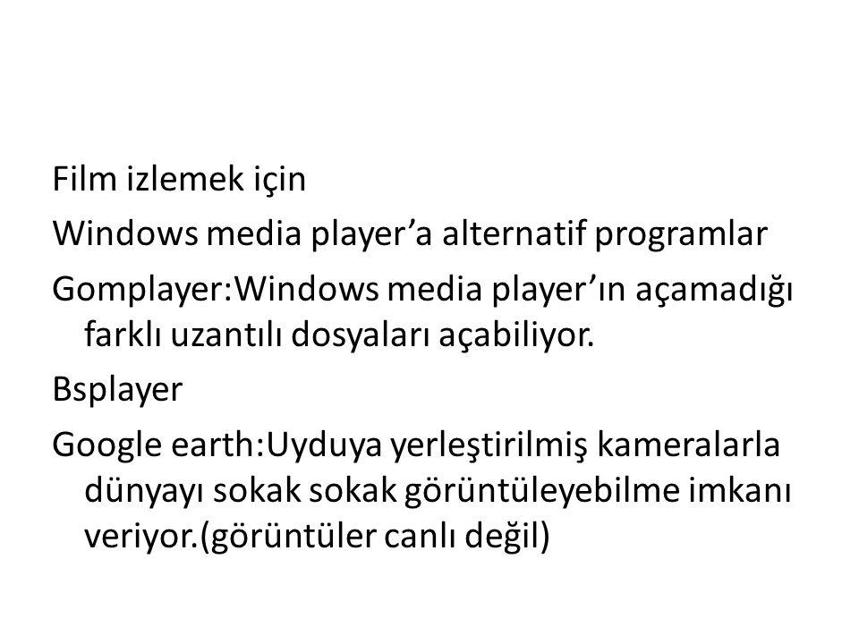 Film izlemek için Windows media player'a alternatif programlar Gomplayer:Windows media player'ın açamadığı farklı uzantılı dosyaları açabiliyor.