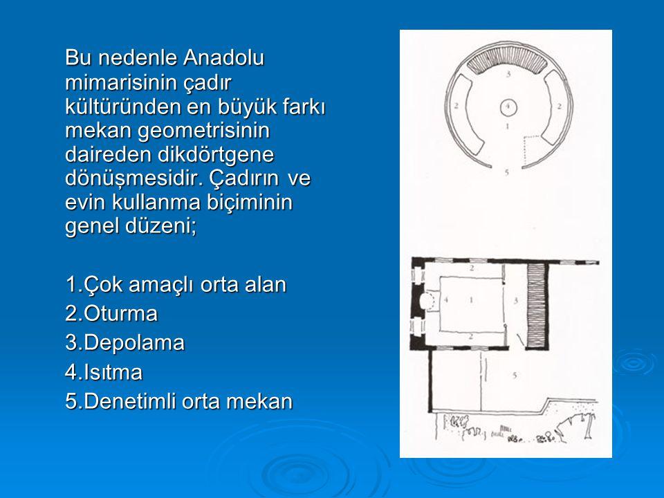 Bu nedenle Anadolu mimarisinin çadır kültüründen en büyük farkı mekan geometrisinin daireden dikdörtgene dönüşmesidir.