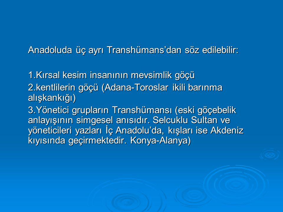 Anadoluda üç ayrı Transhümans'dan söz edilebilir: 1.Kırsal kesim insanının mevsimlik göçü 2.kentlilerin göçü (Adana-Toroslar ikili barınma alışkankığı
