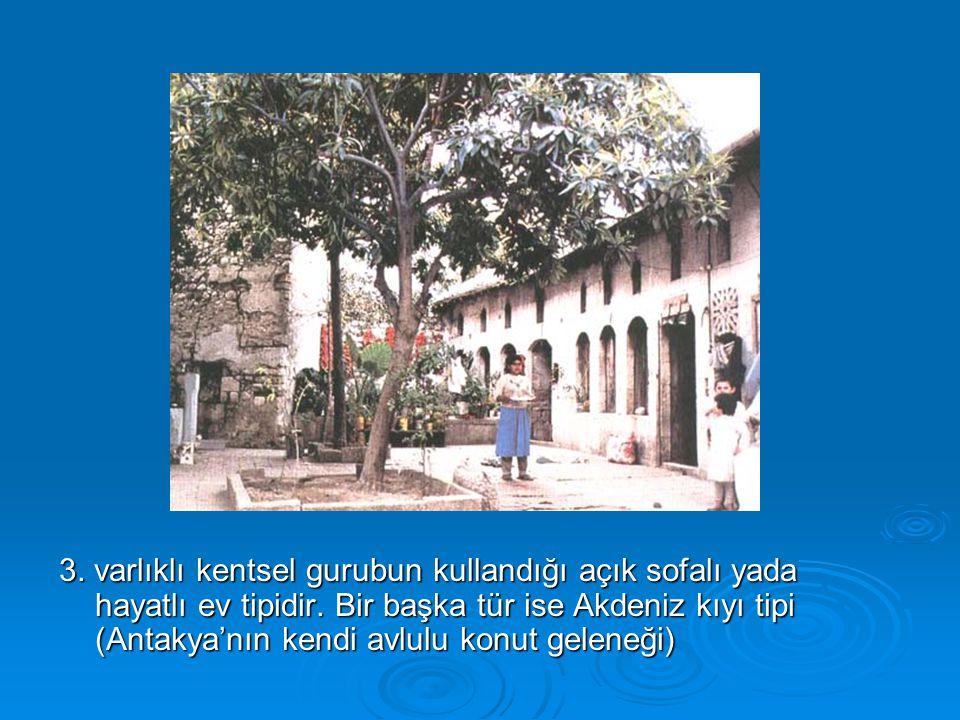 3. varlıklı kentsel gurubun kullandığı açık sofalı yada hayatlı ev tipidir. Bir başka tür ise Akdeniz kıyı tipi (Antakya'nın kendi avlulu konut gelene