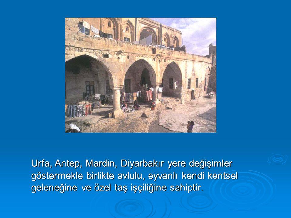Urfa, Antep, Mardin, Diyarbakır yere değişimler göstermekle birlikte avlulu, eyvanlı kendi kentsel geleneğine ve özel taş işçiliğine sahiptir.