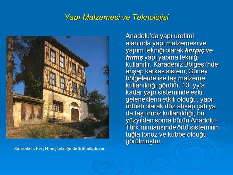 Yapı Malzemesi ve Teknolojisi Anadolu'da yapı üretimi alanında yapı malzemesi ve yapım tekniği olarak kerpiç ve hımış yapı yapma tekniği kullanılır.