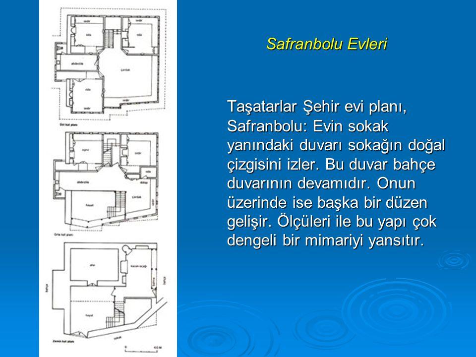 Safranbolu Evleri Taşatarlar Şehir evi planı, Safranbolu: Evin sokak yanındaki duvarı sokağın doğal çizgisini izler.