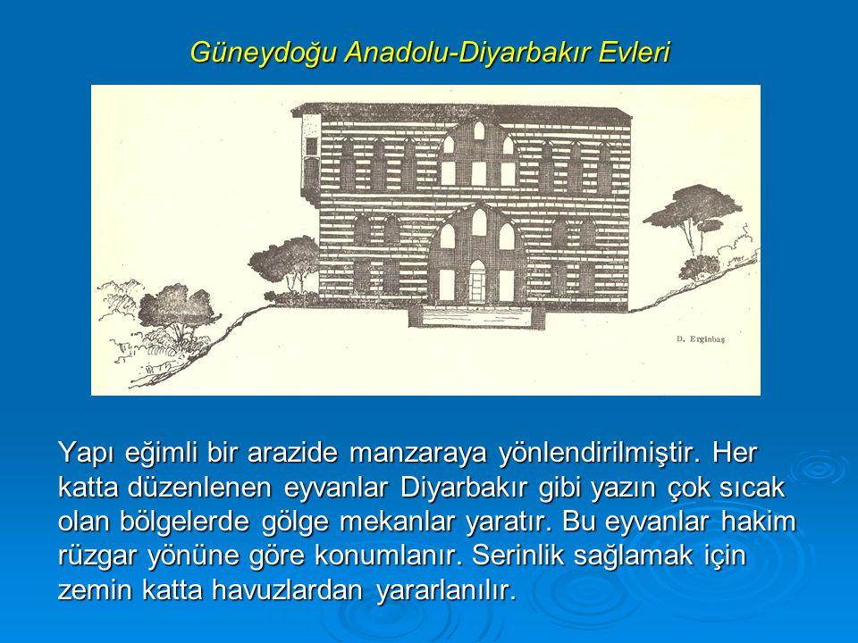 Güneydoğu Anadolu-Diyarbakır Evleri Yapı eğimli bir arazide manzaraya yönlendirilmiştir.