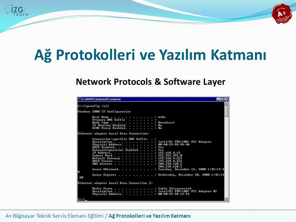 A+ Bilgisayar Teknik Servis Elemanı Eğitimi / Ağ Protokolleri ve Yazılım Katmanı Ağ Sorunlarının Çözümü Ağ sorunlarında sırasıyla aşağıdaki adımları izleyin Fiziksel katmandan başlayın ve tüm donanımı kontrol edin Özellikle test cihazı ile kabloların sağlam olup olmadığını inceleyin Protokollerin düzgünce yüklenip yapılandırılmış olduğuna bakın IP ayarlarının, özellikle ağ maskelerinin doğruluğundan emin olun Erişilmeye çalışılan kaynakların paylaşım ayarlarını gözden geçirin Ping, tracert, nslookup gibi araçlarla bağlantı testi yapın