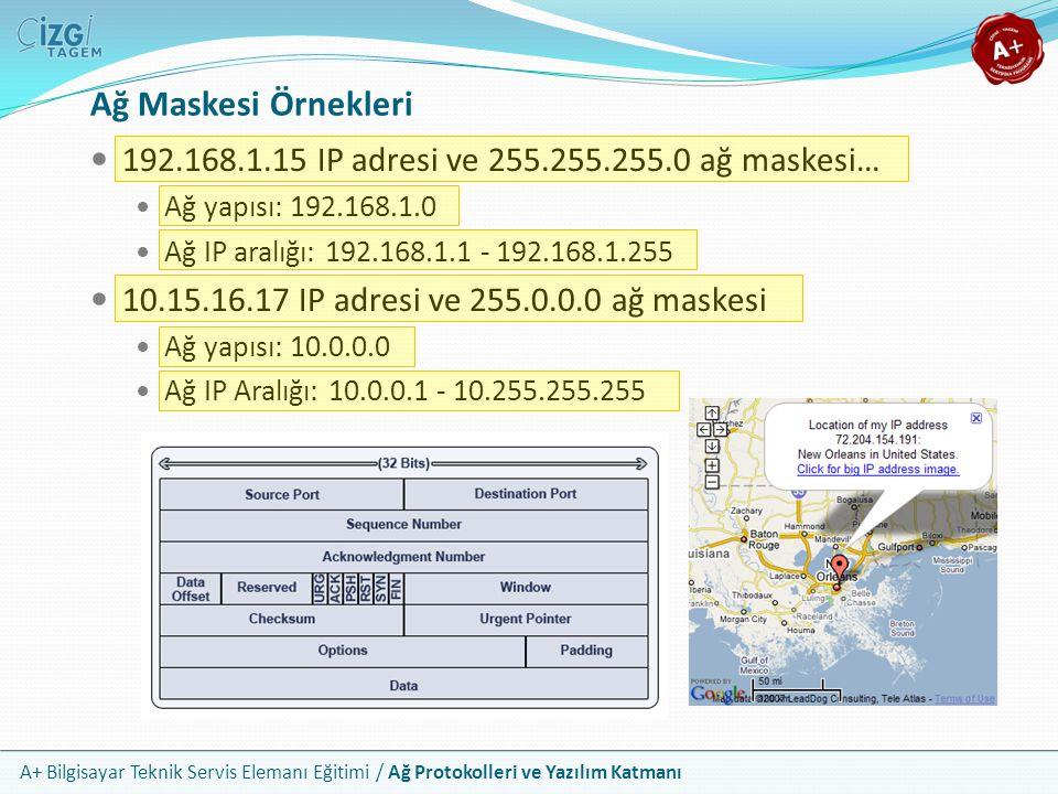 A+ Bilgisayar Teknik Servis Elemanı Eğitimi / Ağ Protokolleri ve Yazılım Katmanı Ağ Maskesi Örnekleri 192.168.1.15 IP adresi ve 255.255.255.0 ağ maske