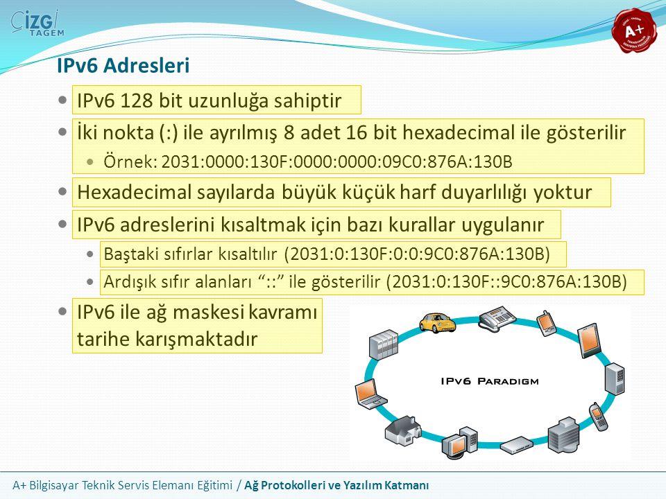 A+ Bilgisayar Teknik Servis Elemanı Eğitimi / Ağ Protokolleri ve Yazılım Katmanı IPv6 Adresleri IPv6 128 bit uzunluğa sahiptir İki nokta (:) ile ayrıl